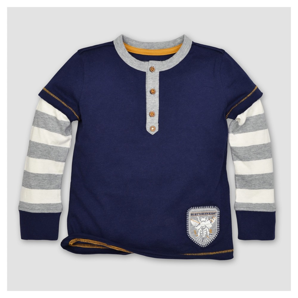 Burts Bees Baby Toddler Boys Striped Henley Long Sleeve T-Shirt - Starry Night 6, Blue