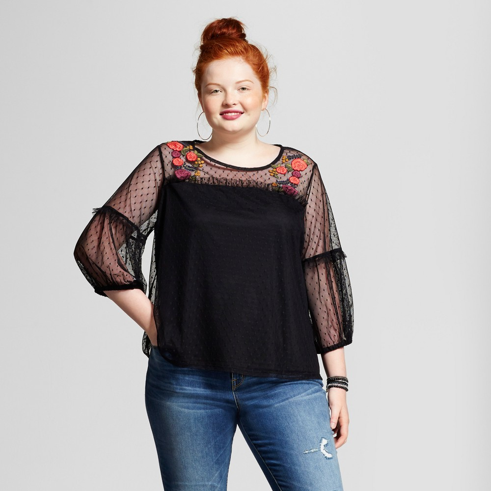 Womens Plus Size Mesh Embroidered Top - Xhilaration Black 4X