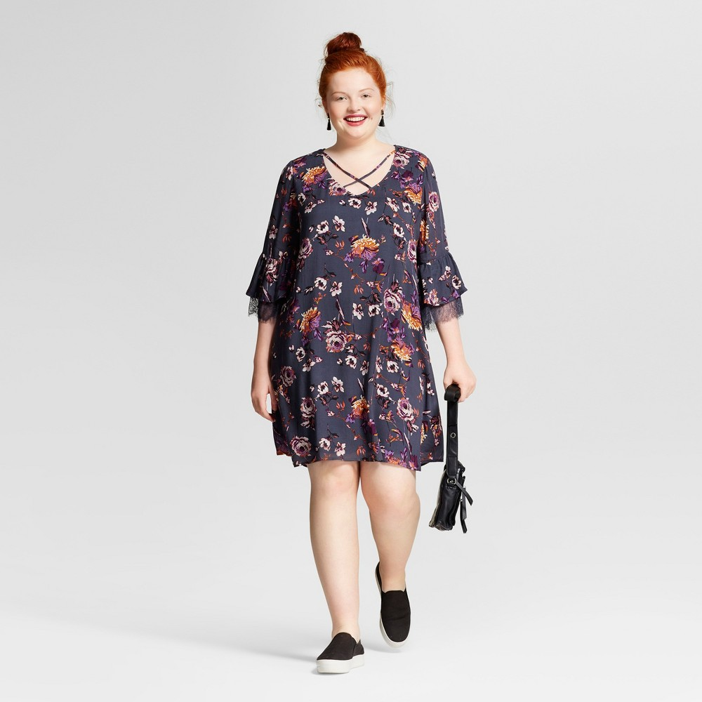 Womens Plus Size Lace Printed Bell Sleeve Dress - Xhilaration Charcoal Floral Print 1X, Gray