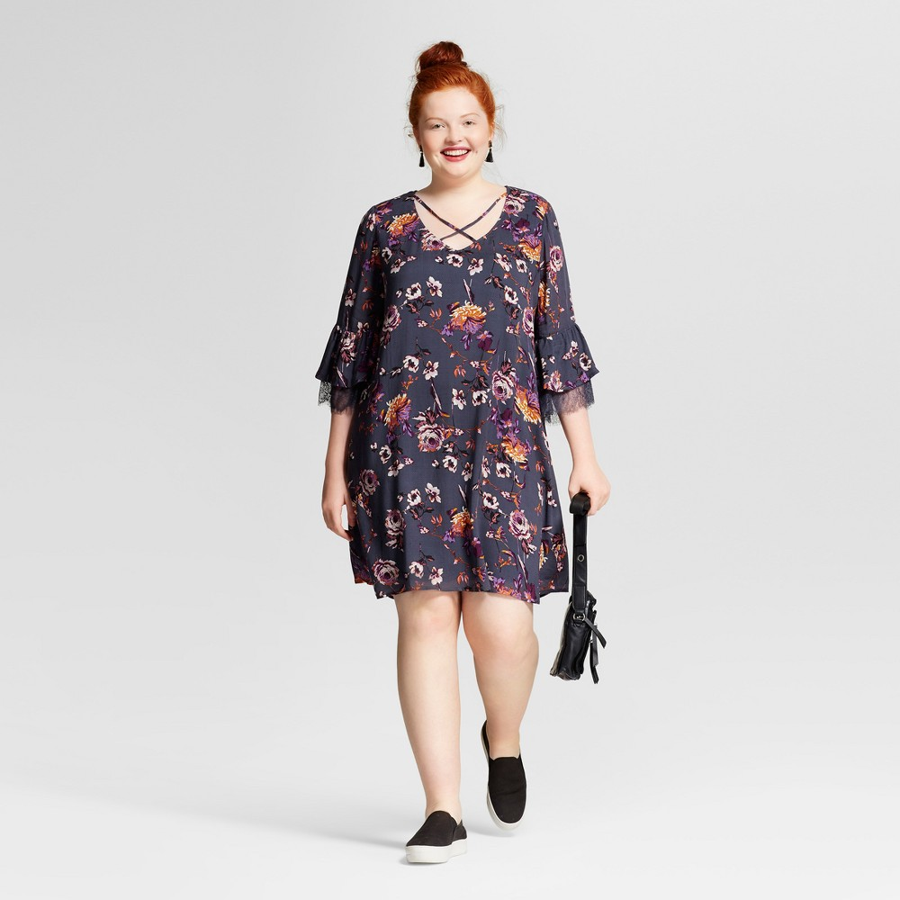 Womens Plus Size Lace Printed Bell Sleeve Dress - Xhilaration Charcoal Floral Print 2X, Gray