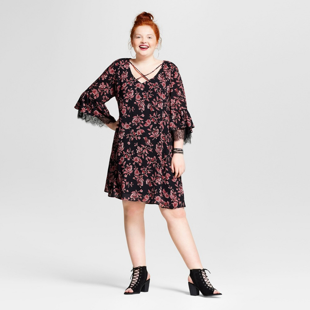 Womens Plus Size Lace Printed Bell Sleeve Dress - Xhilaration Black Rose Print 1X