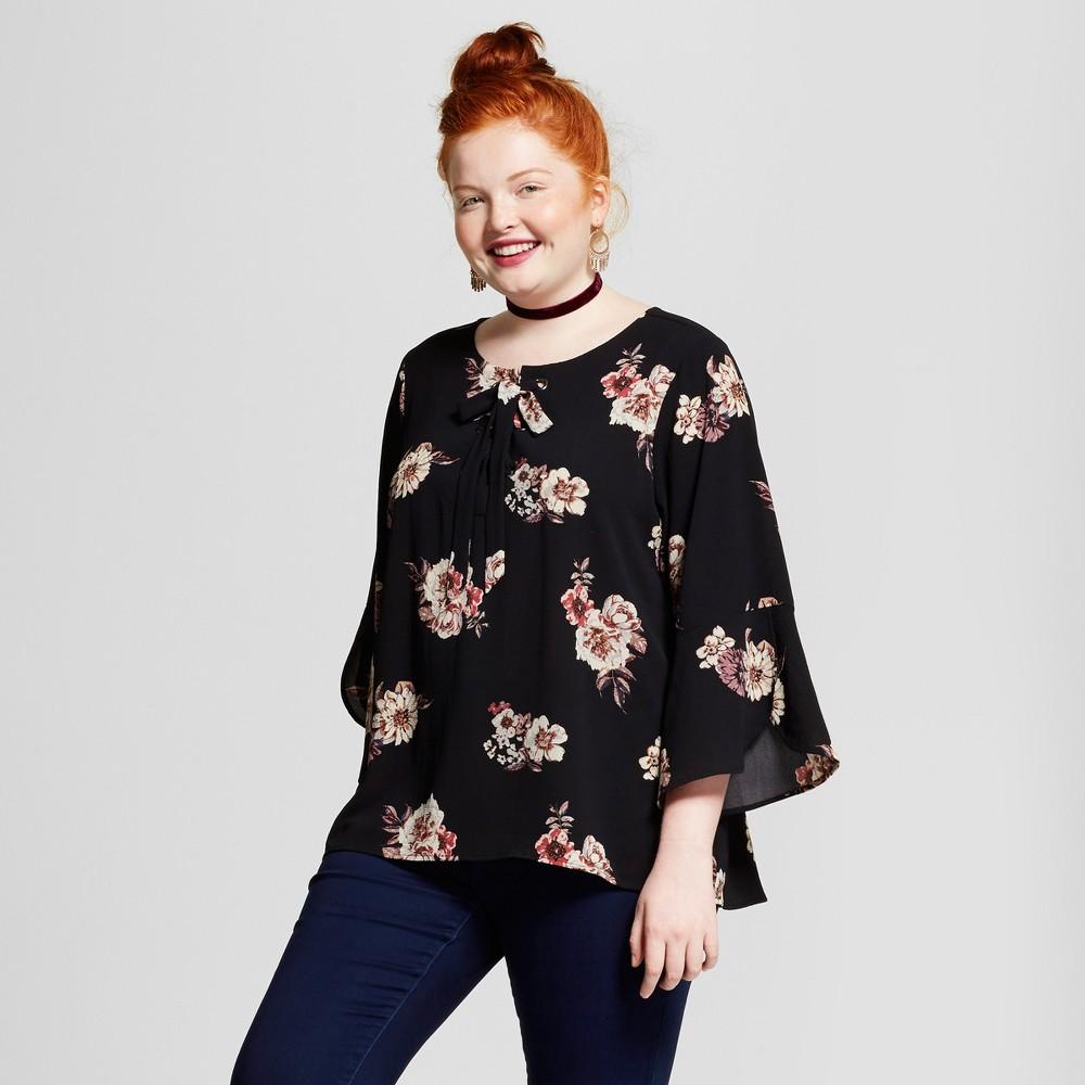 Womens Plus Size Lace-up Stretch Crepe Top - Xhilaration Black Floral Print X