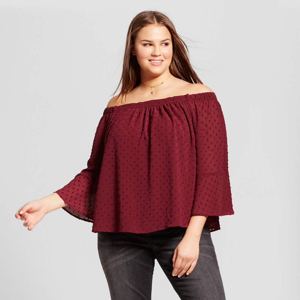 Womens Plus Size Off the Shoulder Top - Xhilaration Burgundy 2X, Red