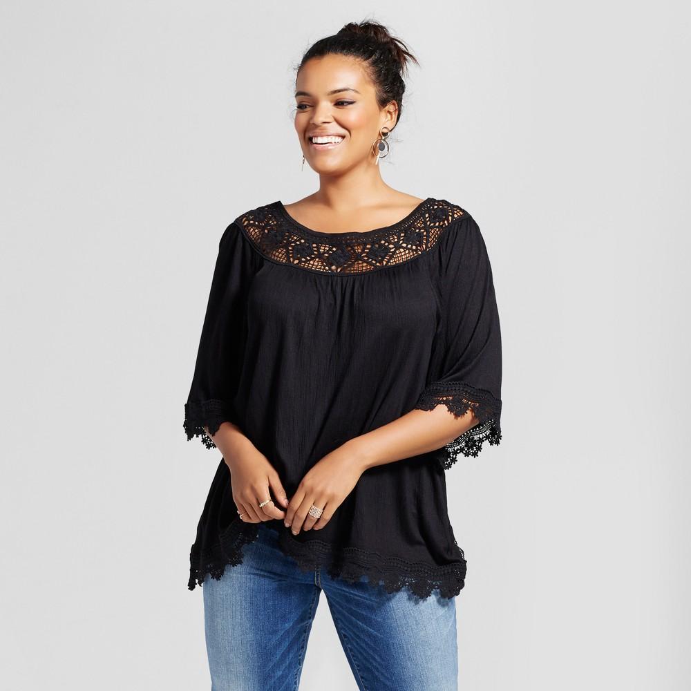 Womens Plus Size Crochet Off the Shoulder Printed Top - Xhilaration Black 4X