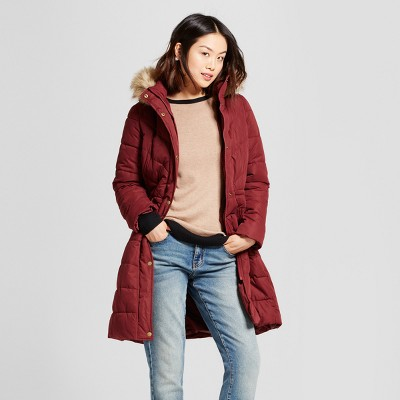 Women's Puffer Jacket with Faux Fur Hood Detail - A New Day™ Red L