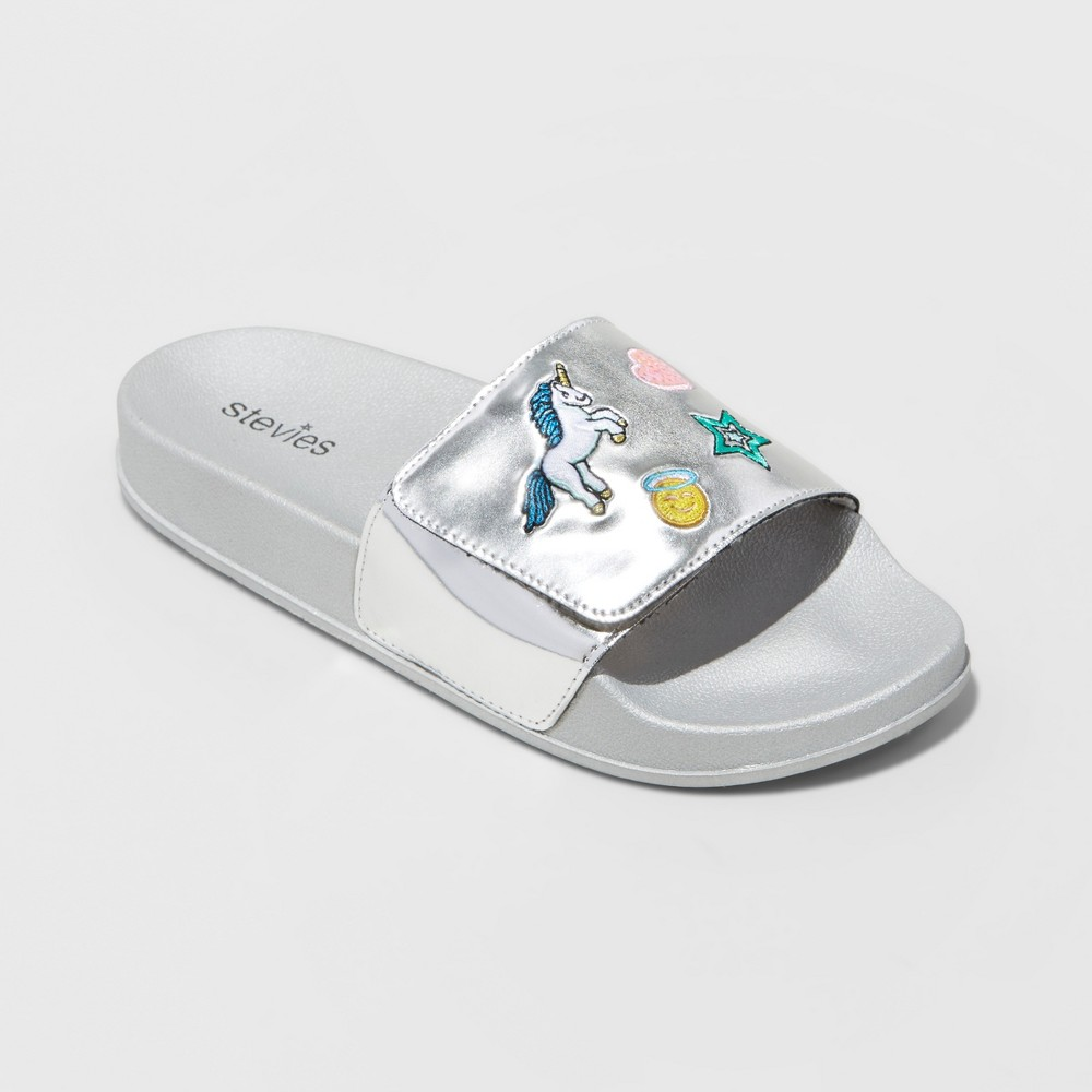 Girls Stevies #chillday Slide Sandals - Silver M, Size: 2-3