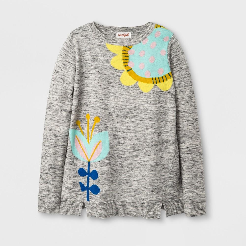 Girls' Flower Pullover Sweater - Cat & Jack Gray XS