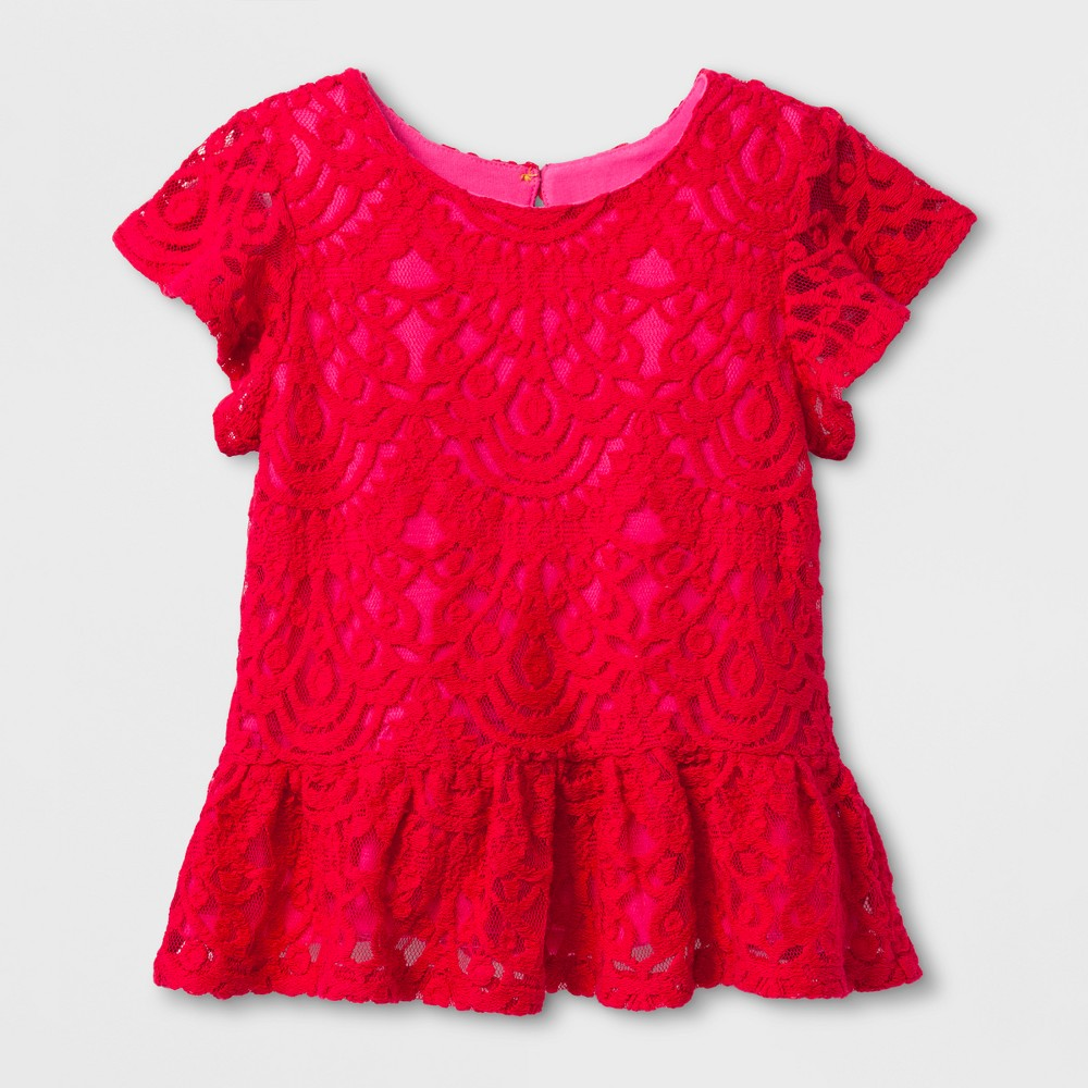 Toddler Girls Lace Peplum Top - Genuine Kids from OshKosh Rendezvous Red 5T, Brown