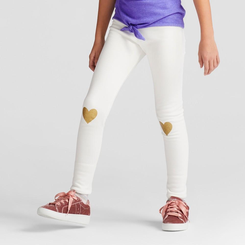 Girls Glitter Hearts Cozy Leggings - Cat & Jack Almond Cream M, White