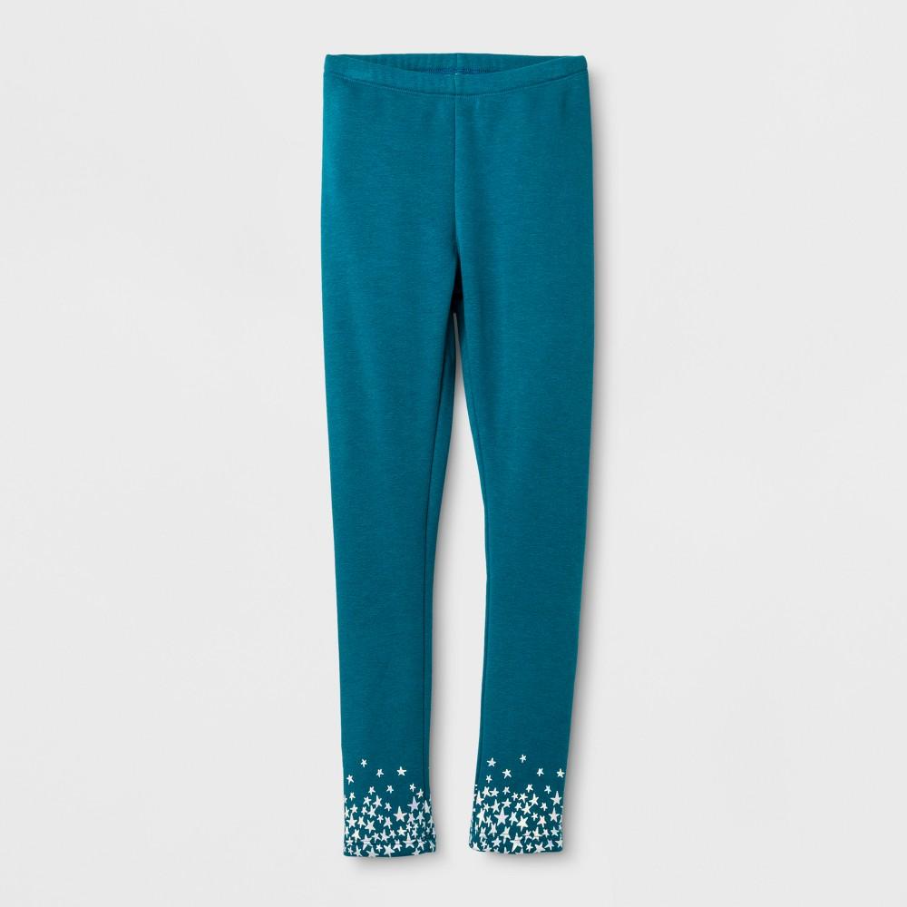 Girls Iridescent Stars Cozy Leggings - Cat & Jack Teal XL, Blue