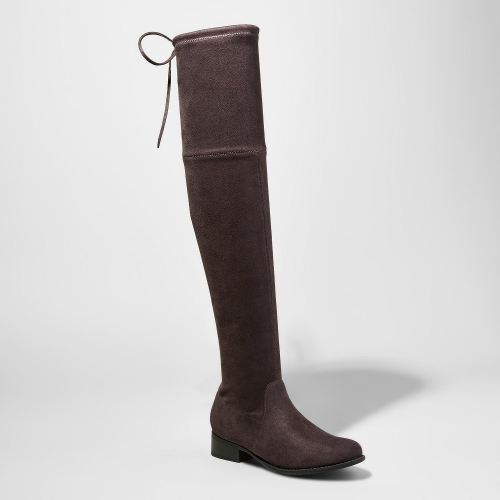 Womens Sidney Wide Width & Calf Over the Knee Boots - A New Day Gray 7W/WC, Size: 7 Wide Width & Calf
