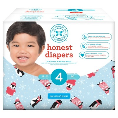 Honest Company Diapers Club Pack, Chilly Penguins - Size 4 (60ct)