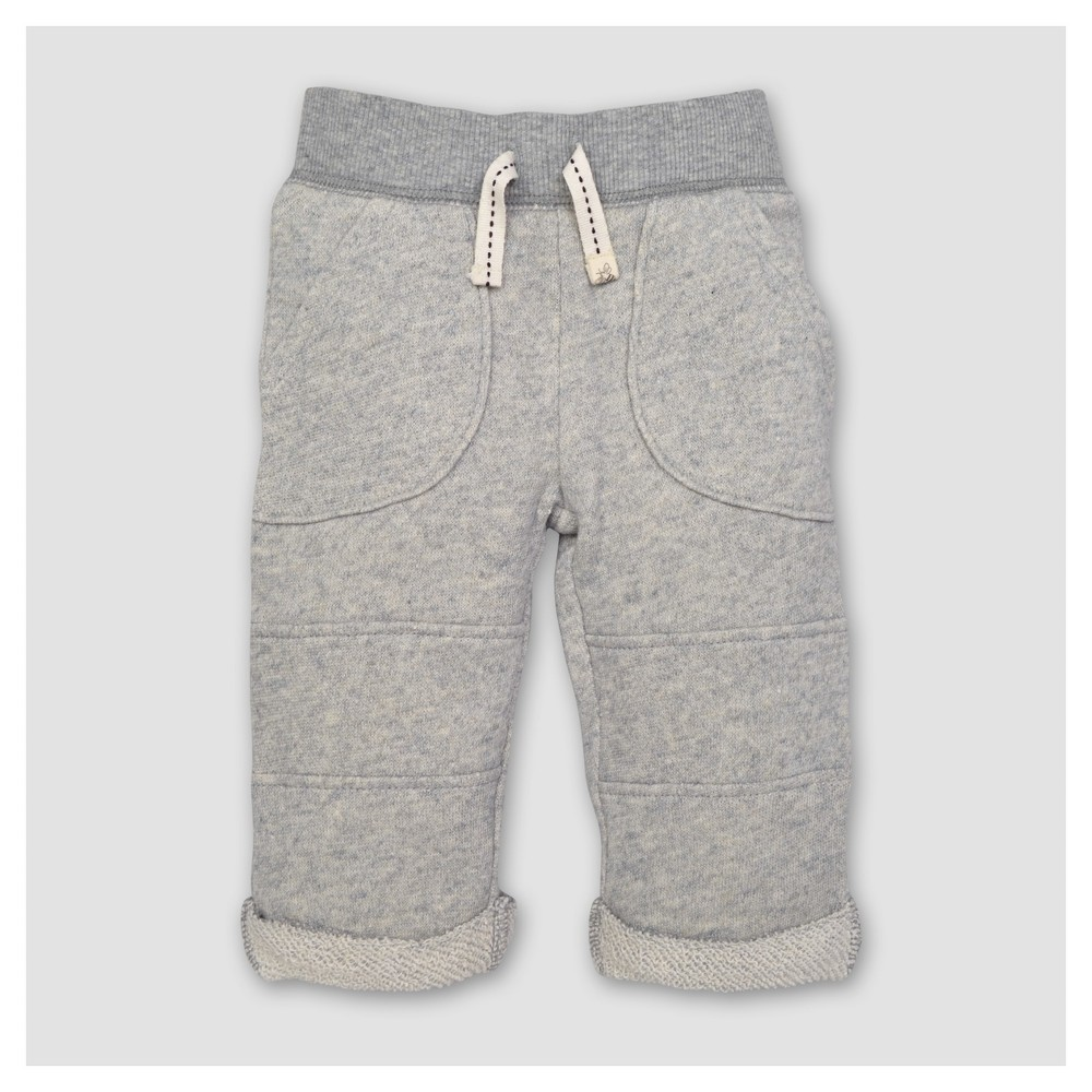 Burts Bees Baby Toddler Boys Loop Terry Rolled Cuff Pants - Heather Gray 7