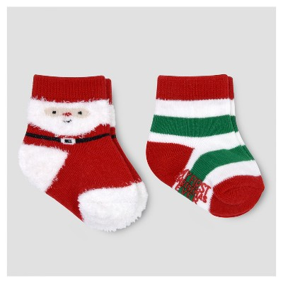 Baby 2pk Santa Crew Socks - Just One You™ Made by Carter's® Red/Green 0-6M