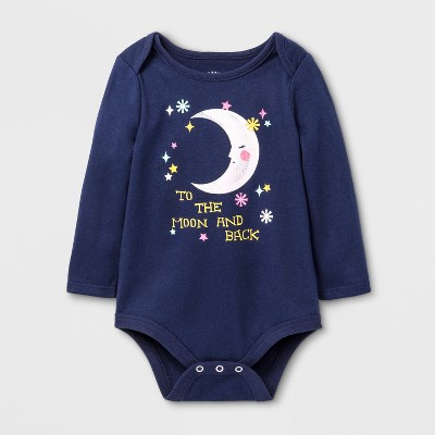 Baby Girls' To The Moon Bodysuit - Cat & Jack™ Nightfall Blue 0-3 M