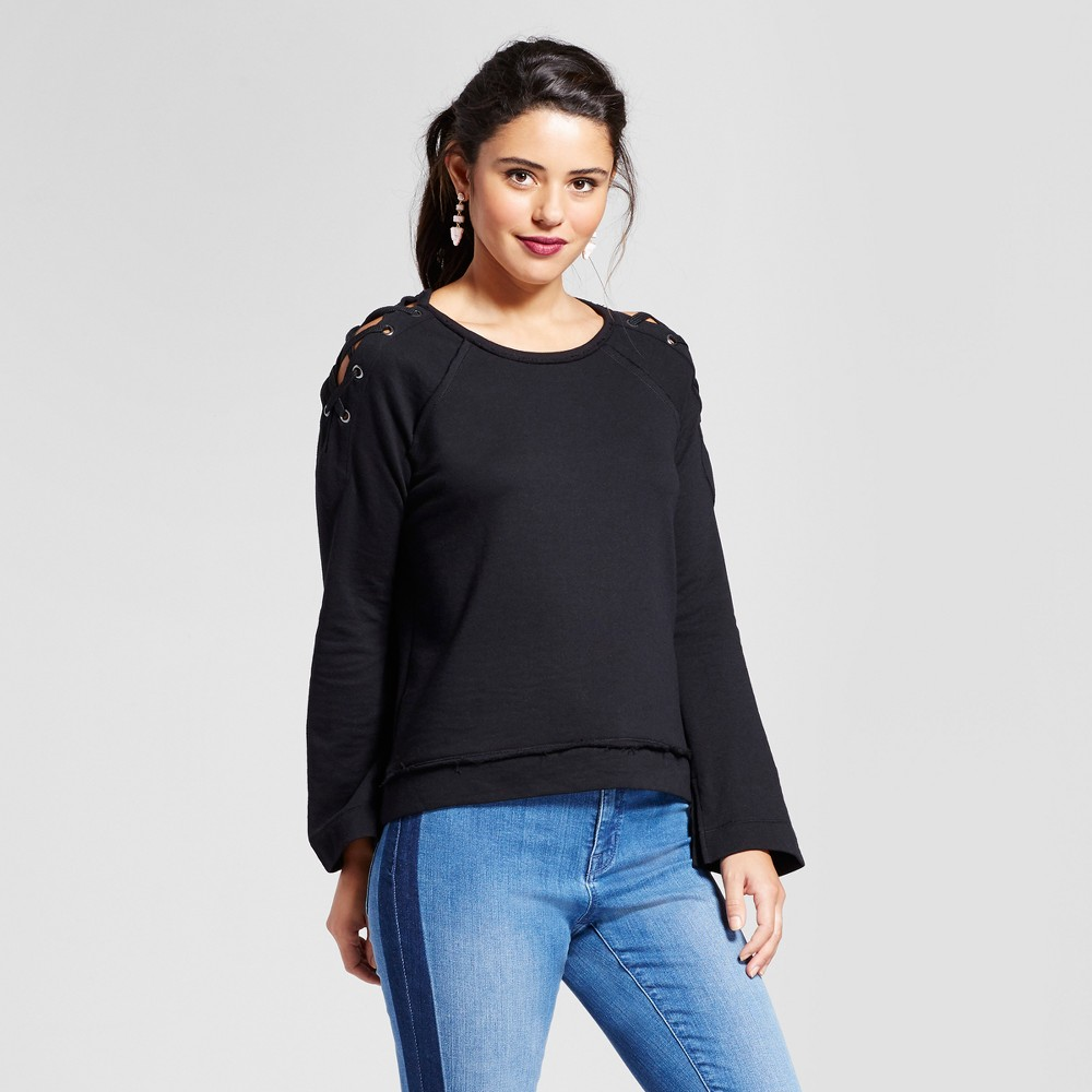Women's Lace-Up Cold Shoulder Sweatshirt - Xhilaration (Juniors') Black L