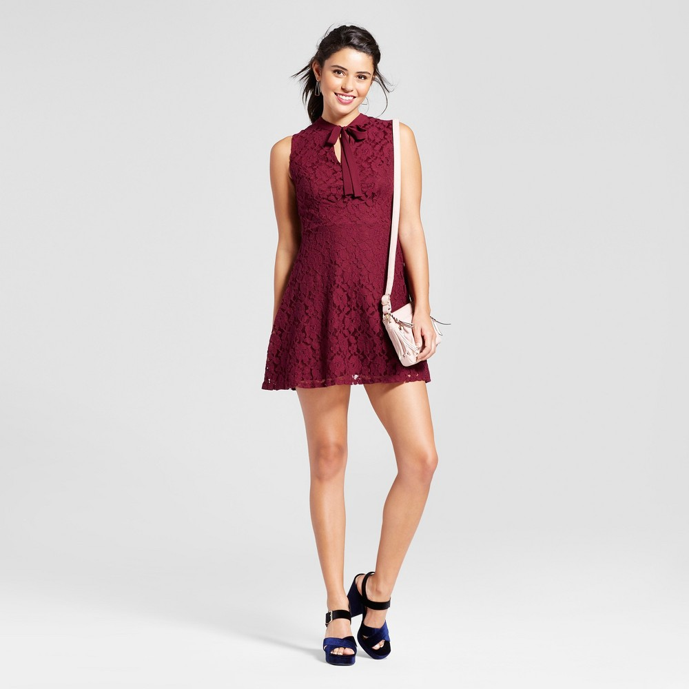 Womens Tie-Front Lace Fit & Flare - Xhilaration (Juniors) Raspberry S