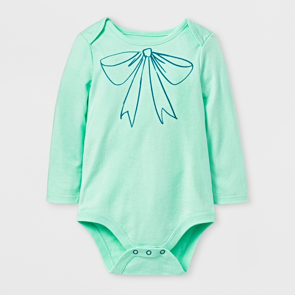 Baby Girls Bow Bodysuit - Cat & Jack Green 12 M, Size: 12 Months