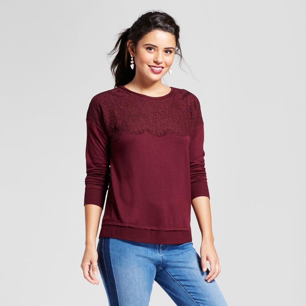 Women's Lace-Up Back Sweatshirt - Xhilaration (Juniors') Burgundy (Red) S