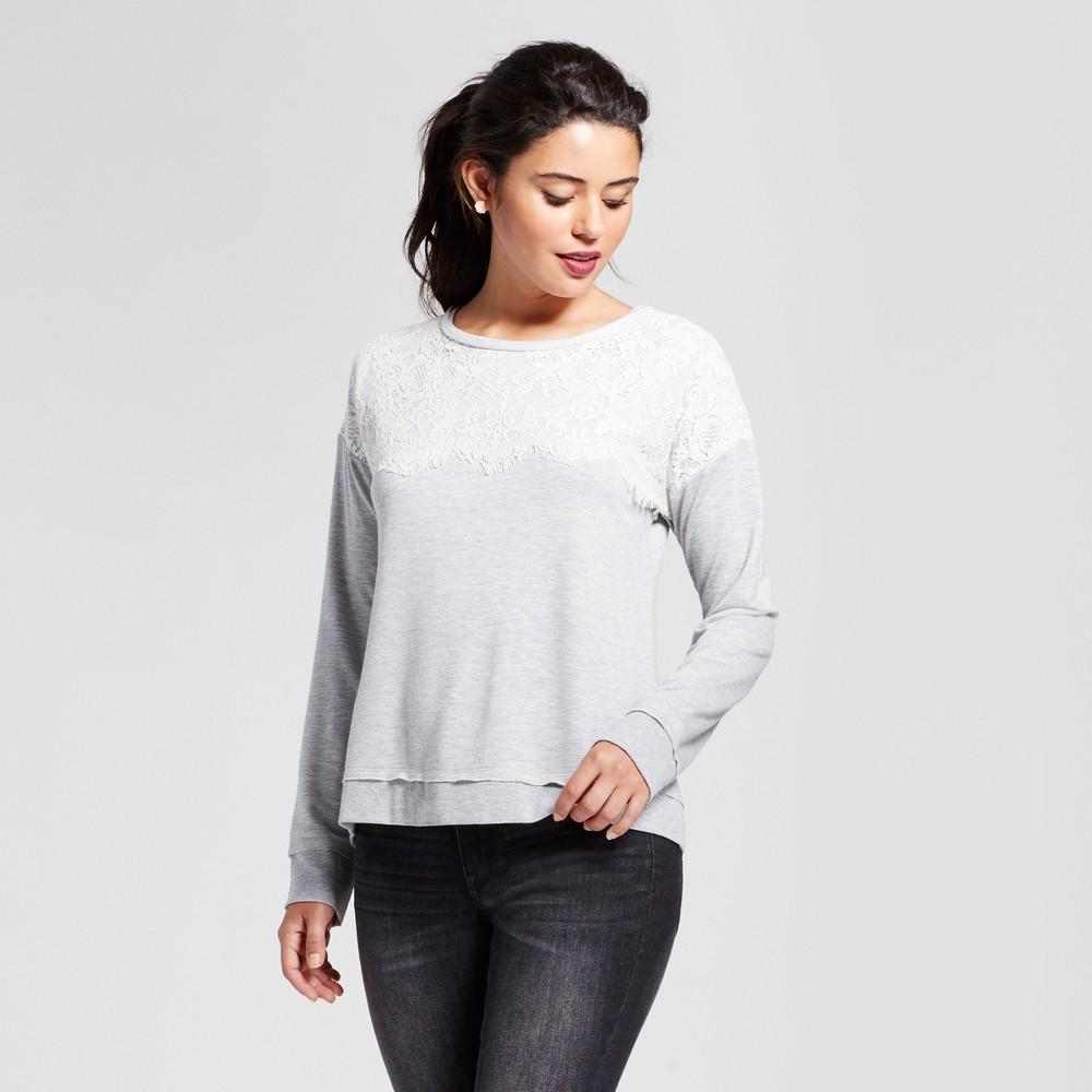 Womens Lace-Up Back Sweatshirt - Xhilaration (Juniors) Gray L