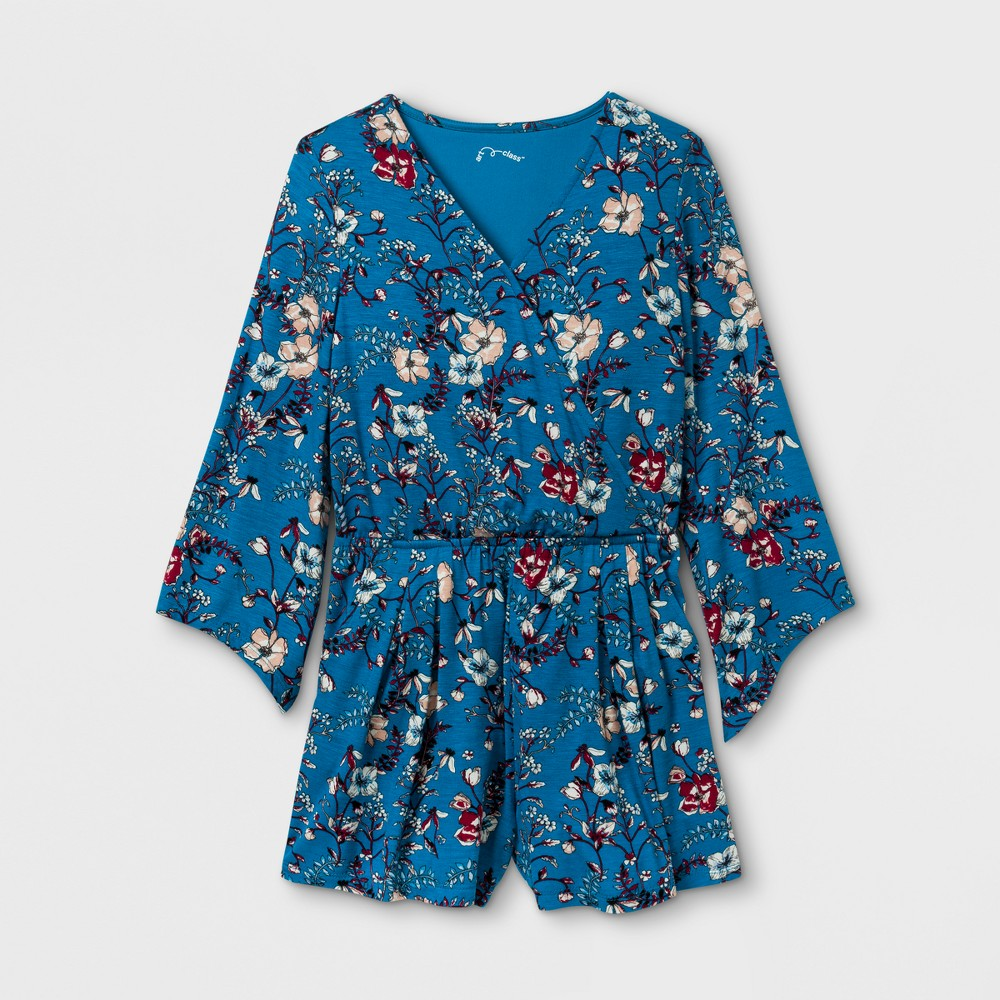 Girls Long Sleeve Knit Rompers Art Class - Blue/Rust Floral L