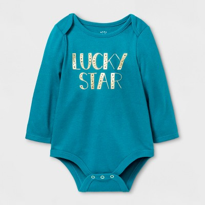 Baby Girls' Lucky Star Bodysuit - Cat & Jack™&3153; Teal 12 M