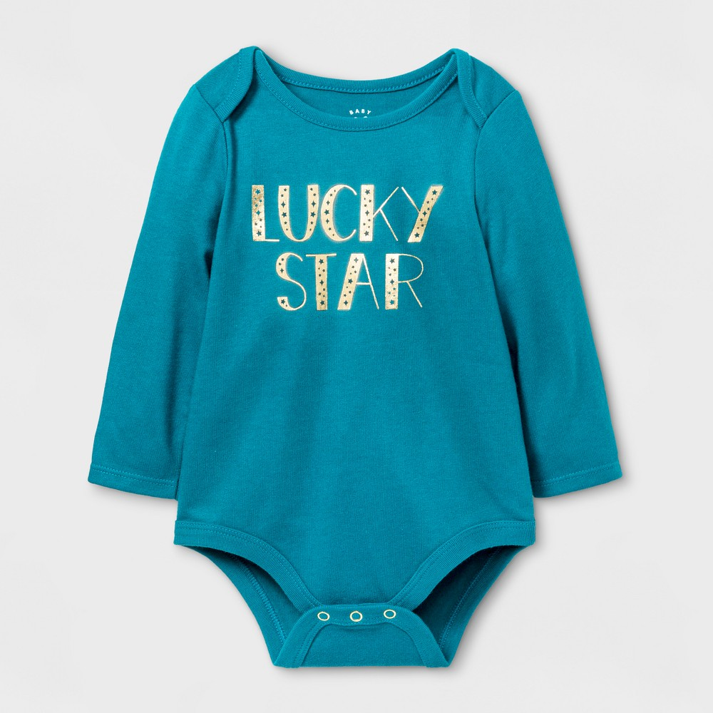 Baby Girls Lucky Star Bodysuit - Cat & Jack&3153; Teal 12 M, Size: 12 Months, Blue