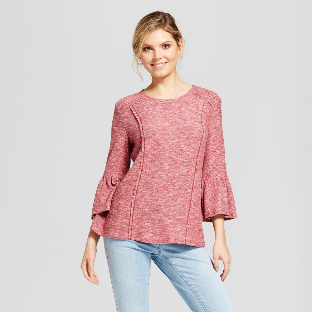 Womens Bell Sleeve Knit Top - Knox Rose Vintage Red XL
