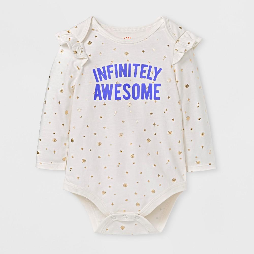 Baby Girls' Infinitely Awesome Bodysuit - Cat & Jack Cream 18 M, White