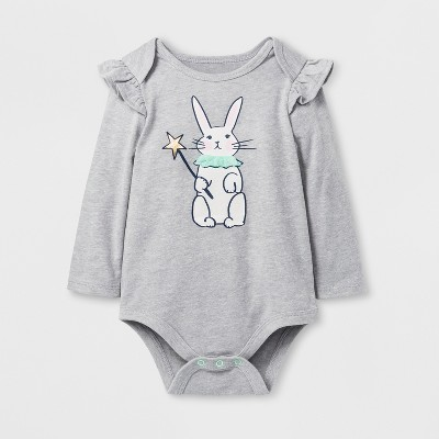 Baby Girls' Bunny Bodysuit - Cat & Jack™ Gray 6-9 M