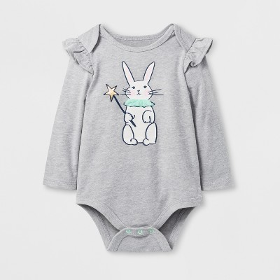 Baby Girls' Bunny Bodysuit - Cat & Jack™ Gray NB