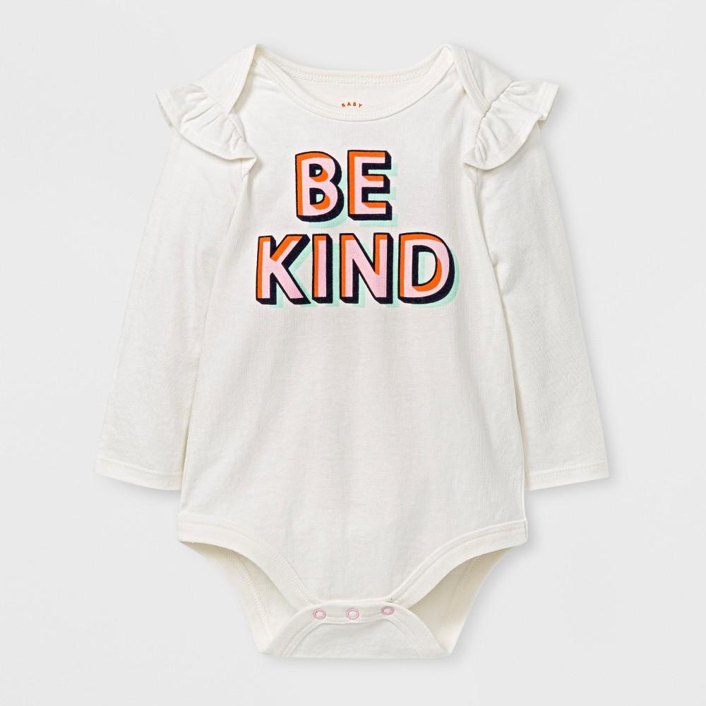 Baby Girls Be Kind Bodysuit - Cat & Jack Cream 18 M, Beige
