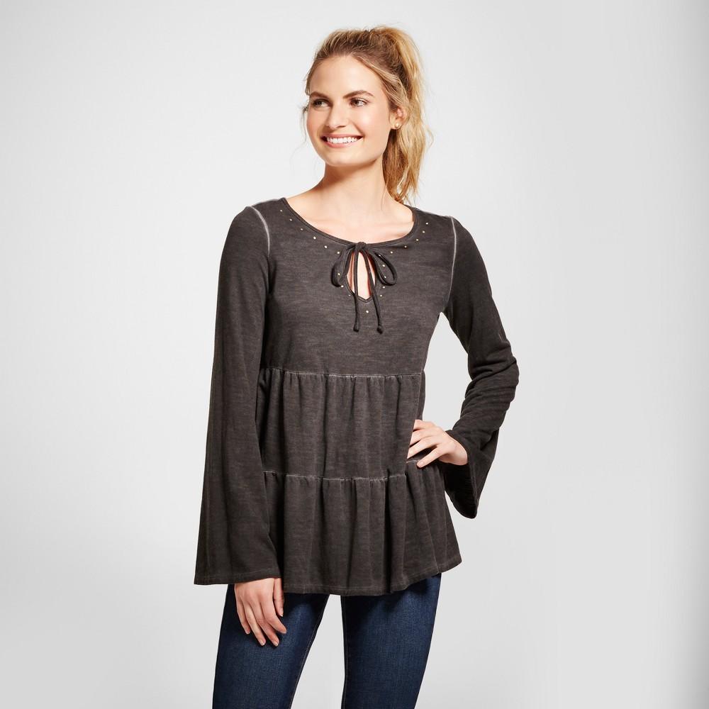 Womens Oil Wash Knit Peplum Top - Knox Rose Black XL