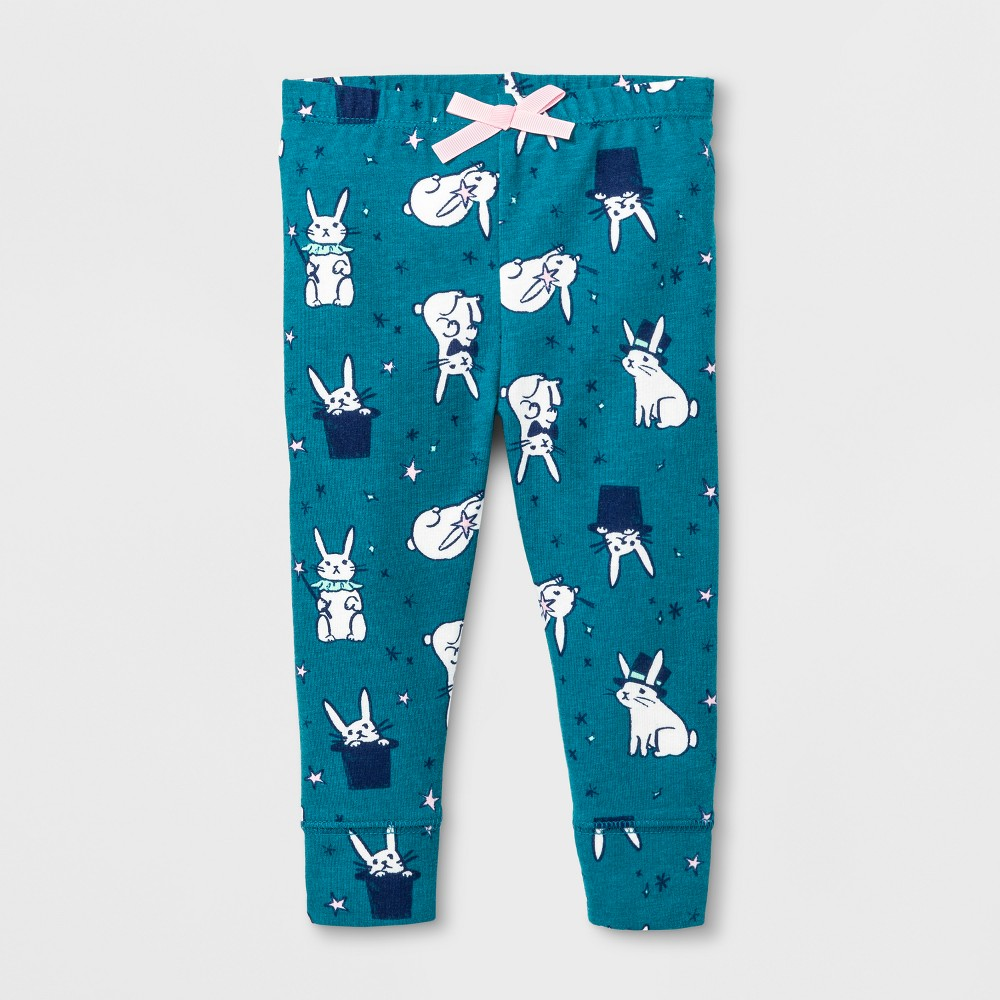 Baby Girls Bunnies Legging - Cat & Jack Teal 12 M, Size: 12 Months, Blue