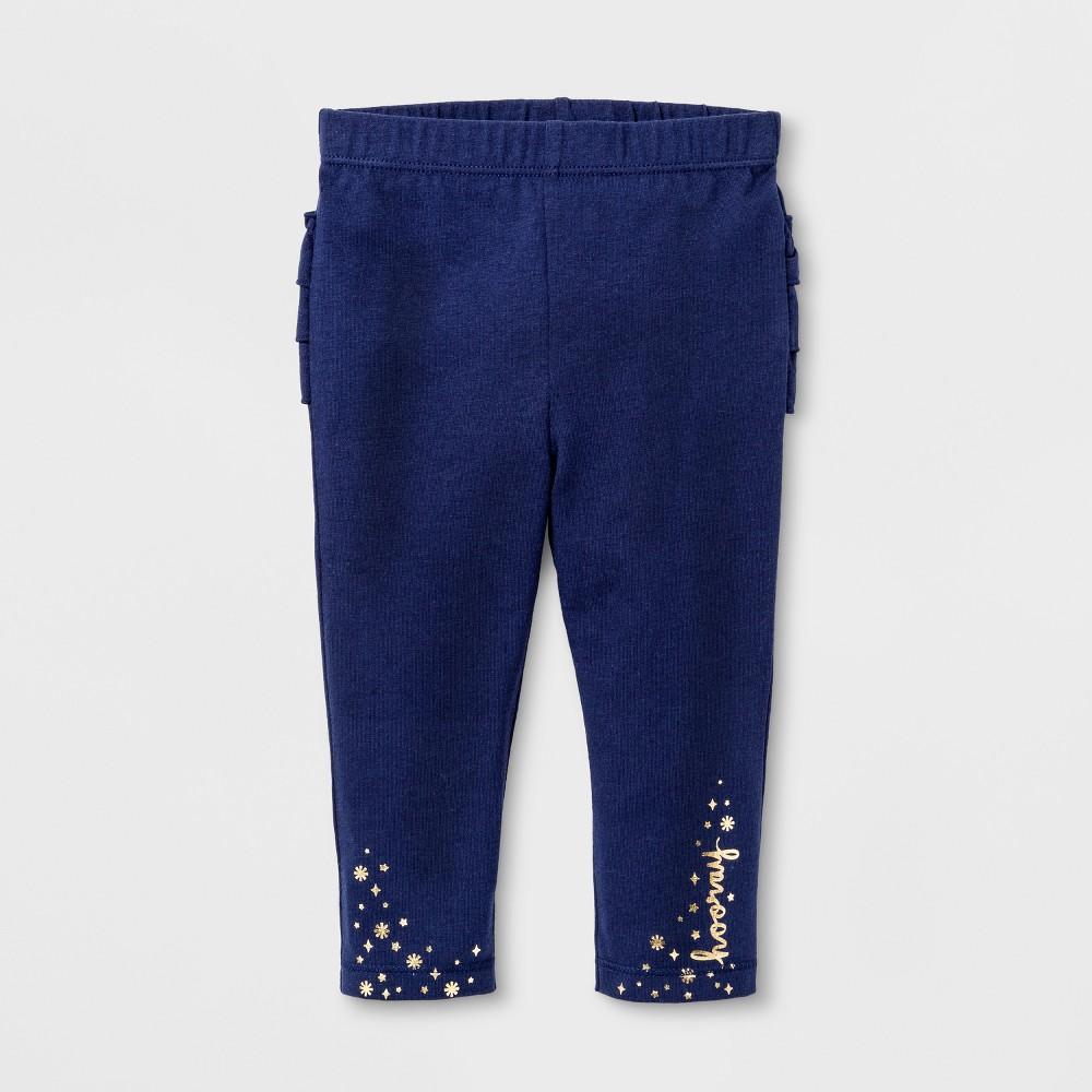 Baby Girls Ruffle Legging - Cat & Jack Navy 18 M, Blue