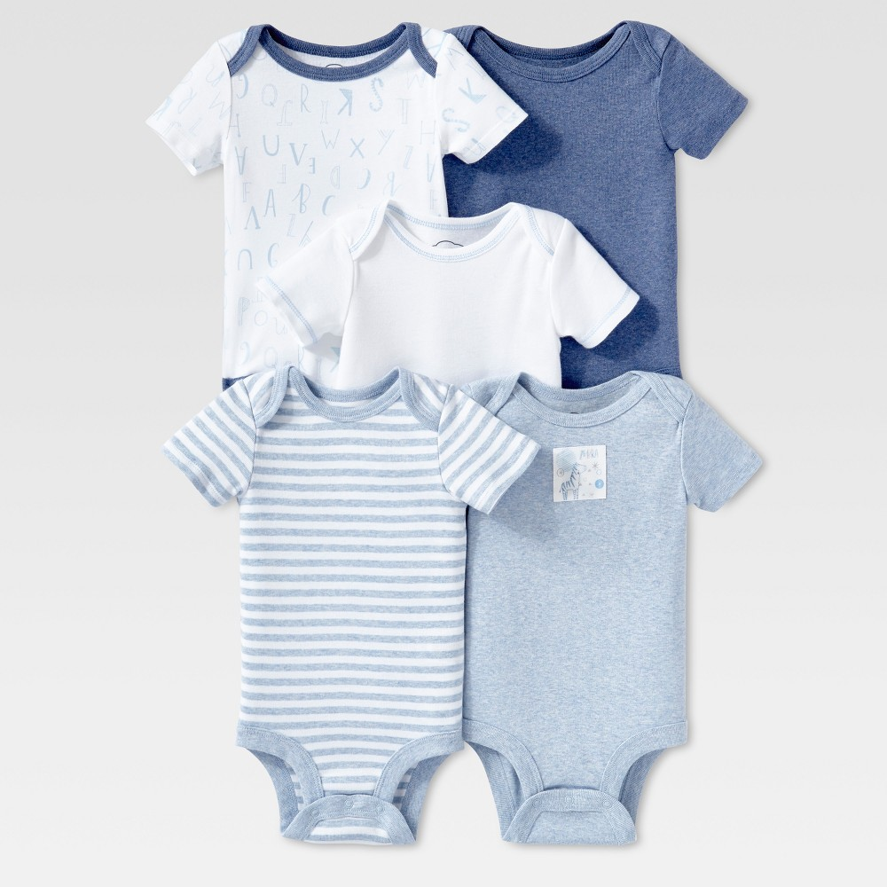 Lamaze Baby Boys Organic 5pc Melange Short Sleeve Bodysuit Set - Blue 6M