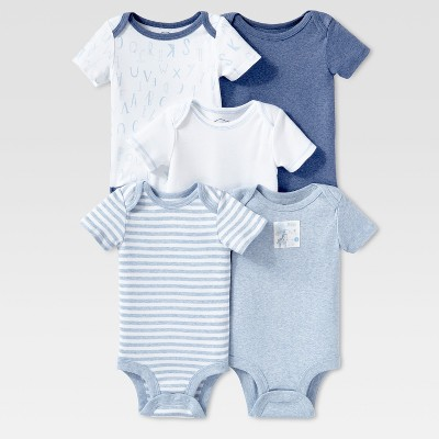 Lamaze Baby Boys' Organic 5pc Melange Short Sleeve Bodysuit Set - Blue 9M