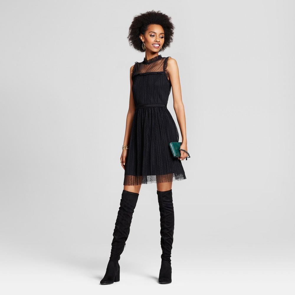 Womens Mesh Pleated Fit & Flare Dress - Xhilaration (Juniors) Black S