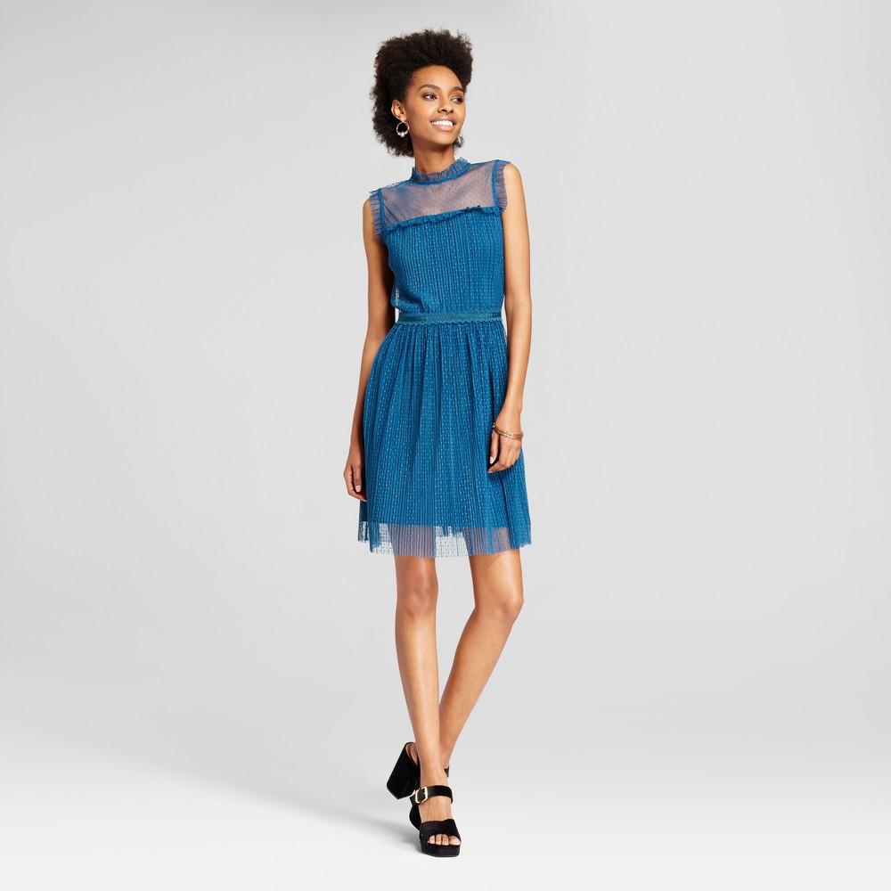 Womens Mesh Pleated Fit & Flare Dress - Xhilaration (Juniors) Blue Xxl