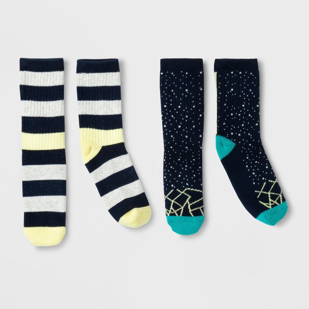 Imn Socks Child Male Casual Socks Pair of Thieves 2 Pk Yellow Navy L, Boys, Blue Yellow