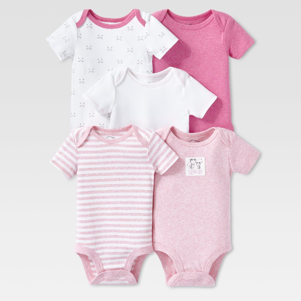 Lamaze Baby Girls Organic 5pc Melange Short Sleeve Bodysuit Set - Pink 24M