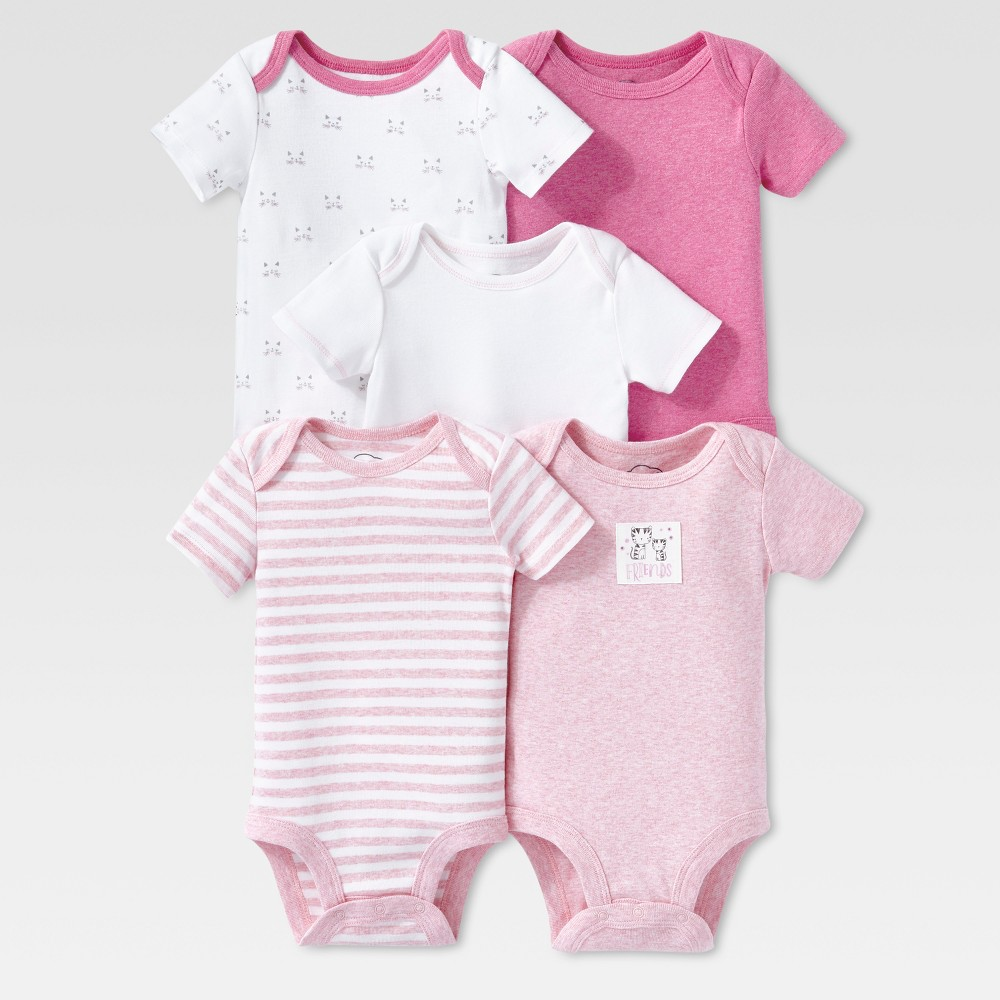 Lamaze Baby Girls Organic 5pc Melange Short Sleeve Bodysuit Set - Pink 3M