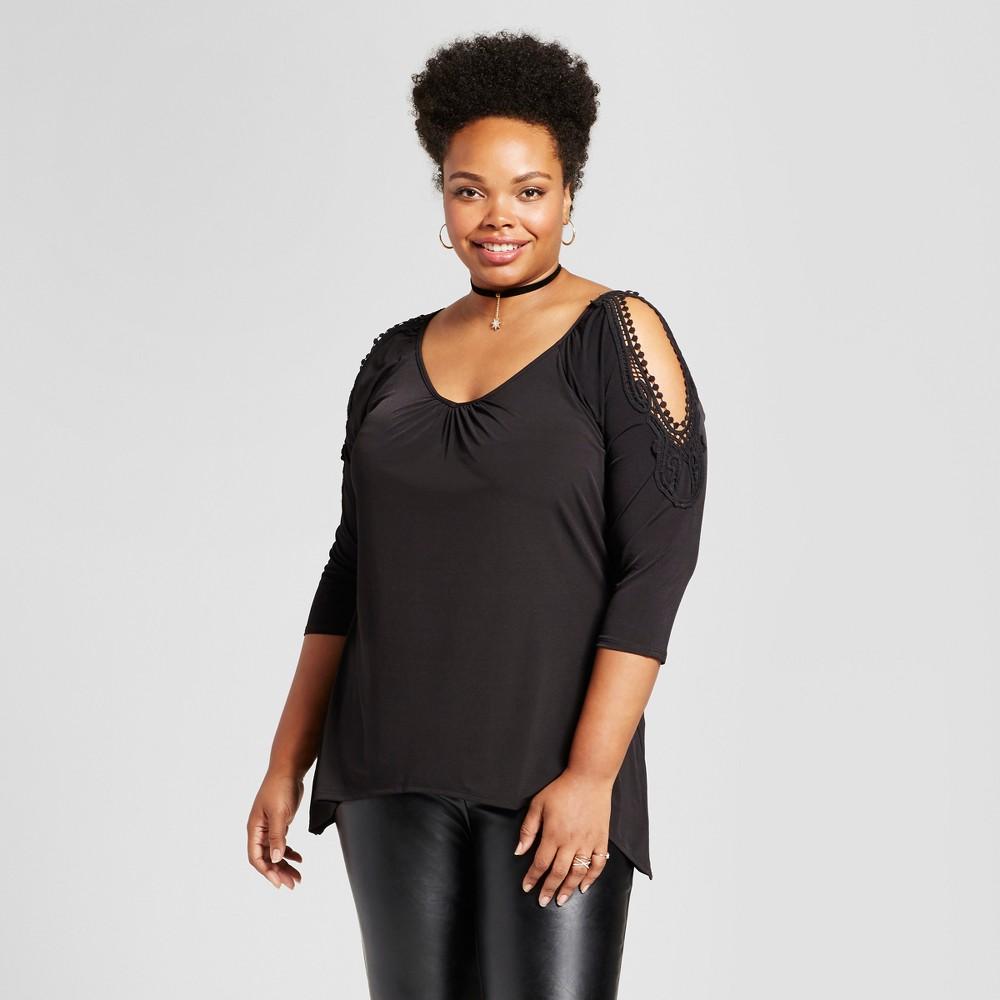 Womens Plus Size Crochet Cold Shoulder Blouse - Melonie T Black 2X