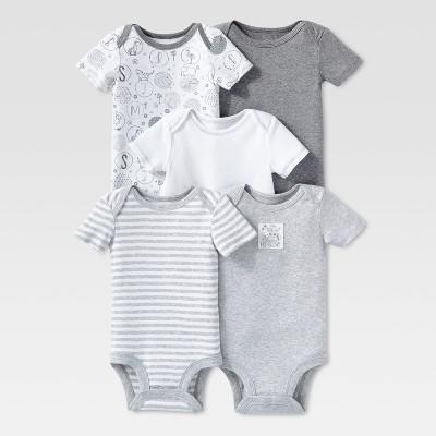 Lamaze Baby Organic 5pc Melange Short Sleeve Bodysuit Set - Gray 18M
