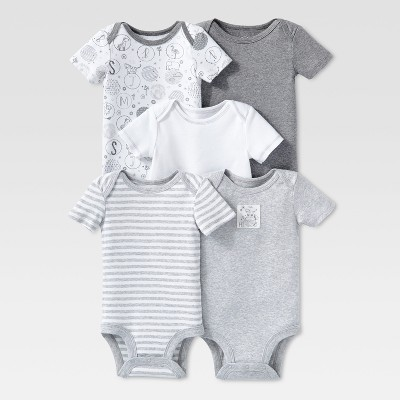 Lamaze Baby Organic 5pc Melange Short Sleeve Bodysuit Set - Gray NB