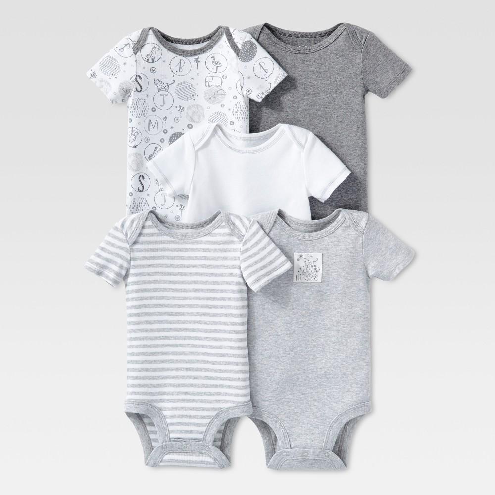 Lamaze Baby Organic 5pc Melange Short Sleeve Bodysuit Set - Gray NB, Infant Unisex