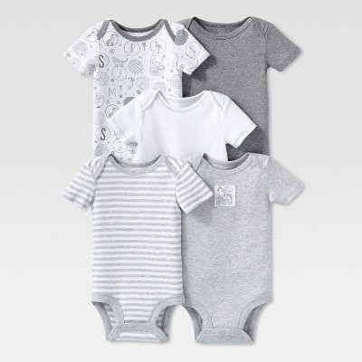 Lamaze Baby Organic 5pc Melange Short Sleeve Bodysuit Set - Gray 3M