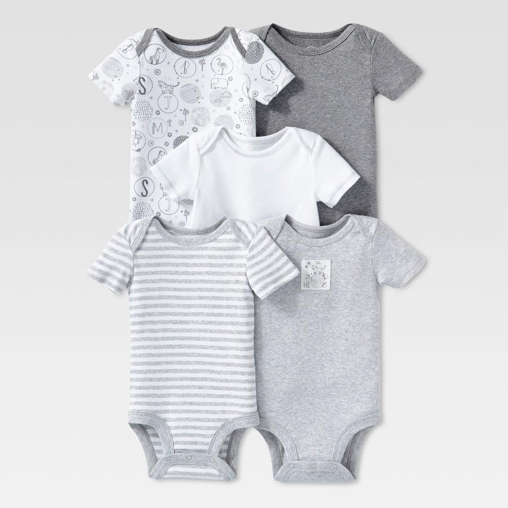 Lamaze Baby Organic 5pc Melange Short Sleeve Bodysuit Set - Gray 3M, Infant Unisex