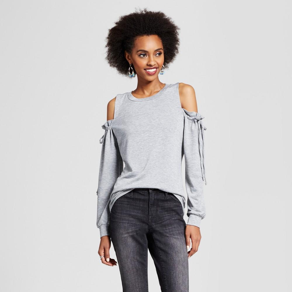 Womens Cold Shoulder Tie-Sleeve Sweatshirt - Xhilaration (Juniors) Gray M, Heather Gray