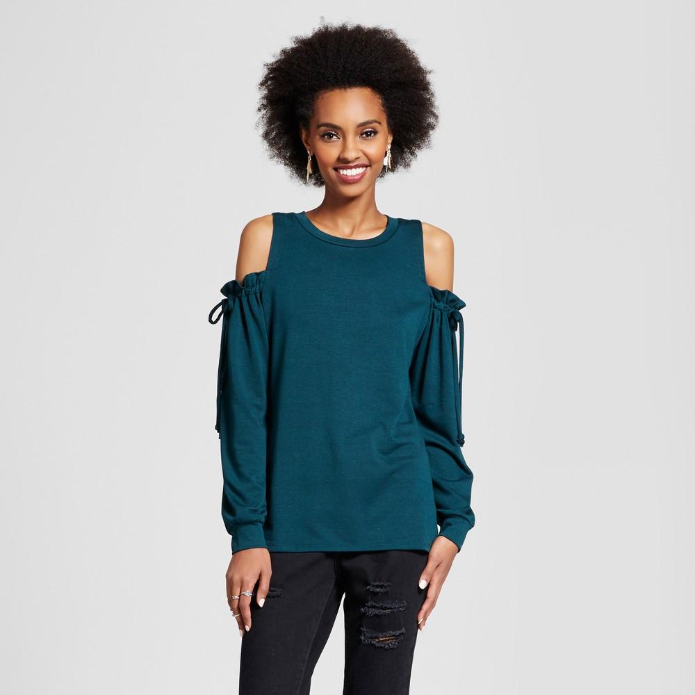 Womens Cold Shoulder Tie-Sleeve Sweatshirt - Xhilaration (Juniors) Green XS